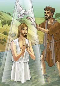 Appena battezzato, Giovanni vide lo Spirito di Dio discendere come una colomba e venire sopra Gesù.