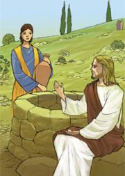 Gesù affaticato dal viaggio, sedeva presso il pozzo. Giunse una donna samaritana ad attingere acqua…