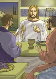 Quando Gesù fu a tavola con loro, prese il pane, recitò la benedizione, lo spezzò e lo diede loro. Allora lo riconobbero…
