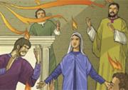 «Apparvero loro lingue come di fuoco, che si dividevano, e si posarono su ciascuno di loro, e tutti furono pieni di Spirito Santo».
