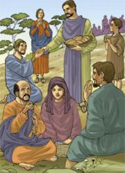 «Gesù prese i cinque pani e i due pesci, recitò la benedizione, spezzò i pani e li diede ai discepoli e i discepoli alla folla».