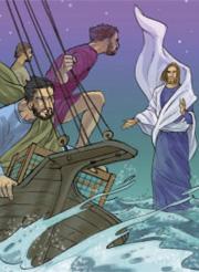 Pietro gli rispose: «Signore, se sei tu, comandami di venire verso di te sulle acque». Ed egli disse: «Vieni!».