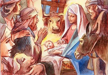 I pastori andarono a Betlemme e trovarono Maria, Giuseppe e il bambino nella mangiatoia.