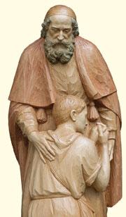 """""""Padre con il figliol prodigo"""", scultura di Ferdinando Perathoner."""