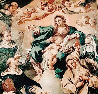 Madonna del Rosario, pittura del '600, Chiesa Madre di Buccino (Salerno).
