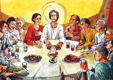 «Ultima Cena», illustrazione di don Luigi Salvetti (1990), pittore bresciano.