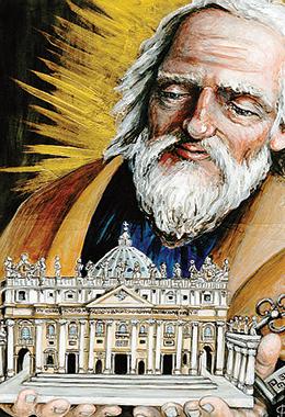 «San Pietro sostiene la Chiesa», illustrazione di Francesca Corrao, pittrice siciliana (2018).