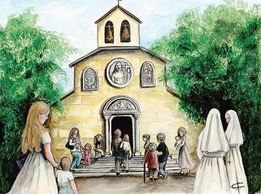 I Precetti della Chiesa, 1: «Partecipa alla Messa la domenica». Illustrazione di Francesca Corrao (2018).