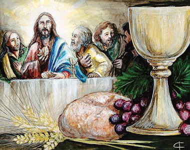 I Precetti della Chiesa, 3: «Ricevi il sacramento dell'Eucaristia almeno a Pasqua». Illustrazione di Francesca Corrao (2018).