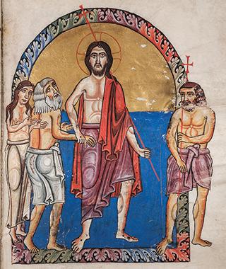 «Cristo risorto tra Adamo ed Eva e il Buon Ladrone», Evangeliario di Matilde (XI sec.). Museo Benedettino e Diocesano di Nonantola (MO).